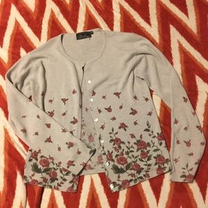 Atriot Cardigan with Rose Pattern